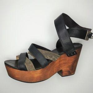 Rag & Bone Strappy Leather Wood Platform Sandals